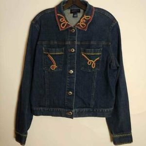 Ann Taylor Jean Jacket Embroidered Stretch Large